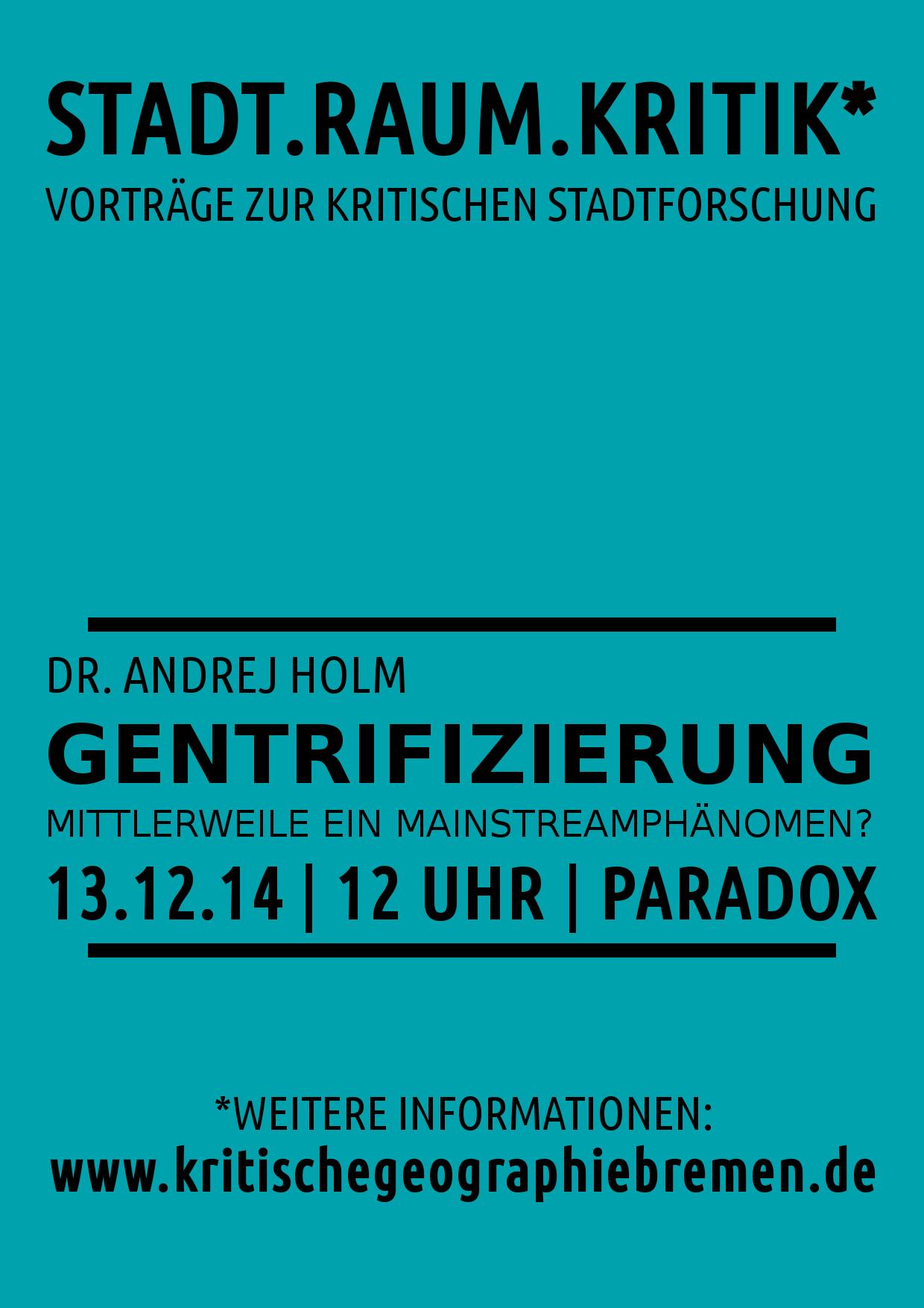 Vortrag Gentrifizierung Andrej Holm